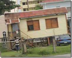 Belize houses on stilts because of flooding.